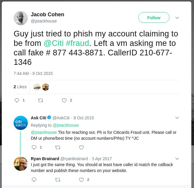 tweet about phish-like citi source #